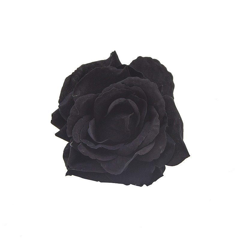 Clip rose velours noir
