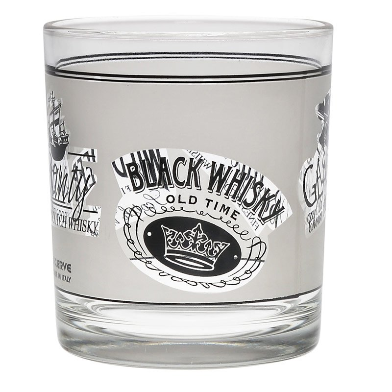 3 verres à whisky 'Black & white'