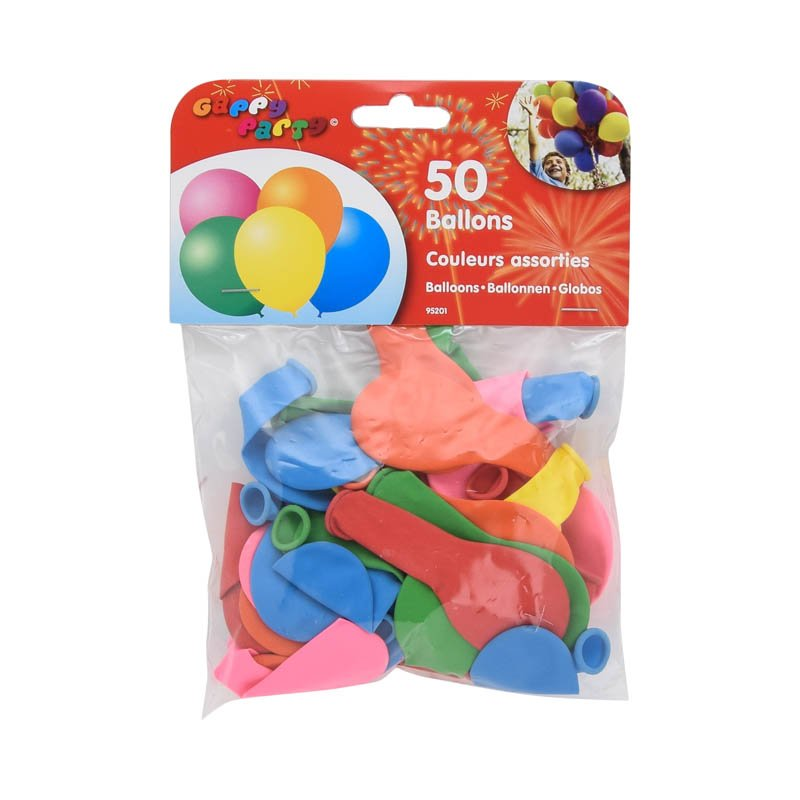50 ballons ronds multicolores