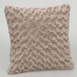 Coussin effet fourrure taupe 'Rosella'